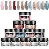 Modelones Acrylic Powder 12 Color Nude Gray Color Acrylic Nail Powder Set Professional Polymer Colorful Set...