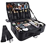 GZCZ 3 Layer Large Capacity Professional Travel Makeup Train Case 13.4 Inches Makeup Bag Cosmetic Brush...