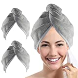 YoulerTex Microfiber Hair Towel Wrap for Women, 2 Pack 10 inch X 26 inch, Super Absorbent Quick Dry Hair...
